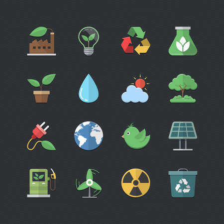 Eco Energy icons set with Flat color style Vector