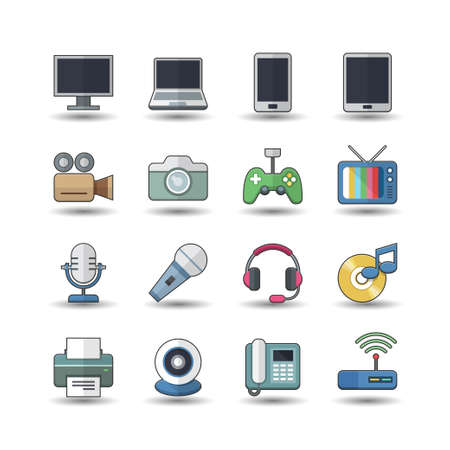 Flat color style Electronic Devices icons set Vector