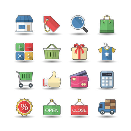 Flat color style Shopping & Market icons set Vector
