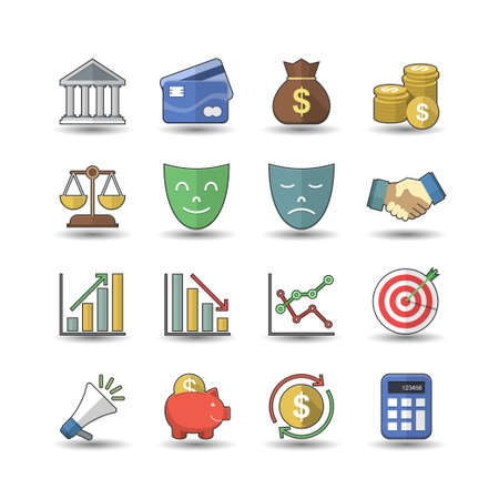 Flat color style Financial investment icons set Vector