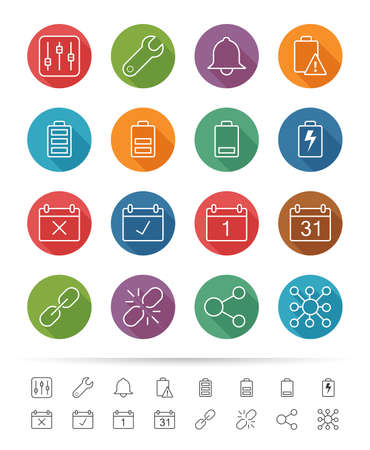 Simple line style : Application & Mobile icons set Vector