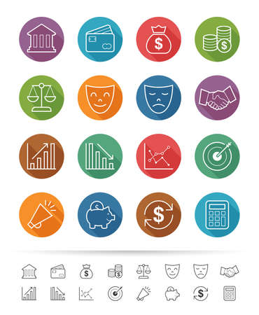Simple line style : Financial investment icons set Vector
