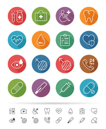 Simple line style : Health-care and medical icons set Vector