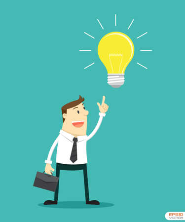 Businessman pointing at light bulb to getting Idea Vector