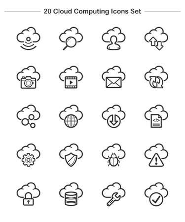 Line icon - Cloud Computing icons set, Bold Illustration