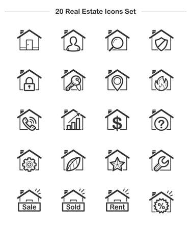 real estate house: Line icon - Real Estate & House, Bold