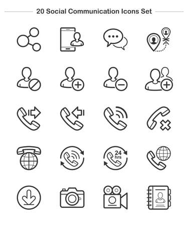 social communication: Line icon -  Social Communication, Bold