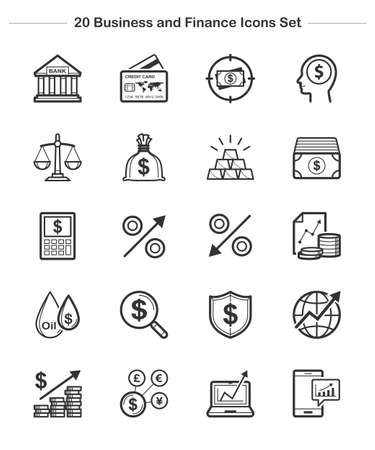 dollar bag: Line icon - Business Finance, Bold