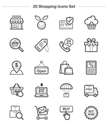 Line icon - Shopping, Bold Vector