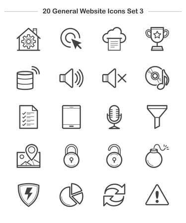 general warning: Line icon - General icons Set 3, Bold Illustration