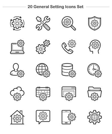 Line icon  General Setting Icons Set Bold Vector