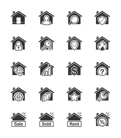 Real Estate  House icon on White Background Vector Illustration Vector