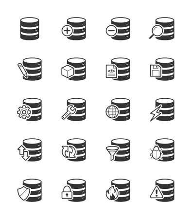 global settings: Database icon on White Background Vector Illustration