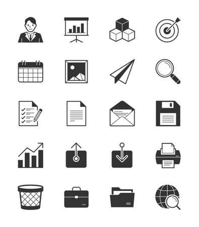calandar: Business  Office icon set 1 on White Background - Vector Illustration