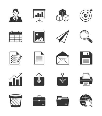 Business  Office icon set 1 on White Background - Vector Illustration