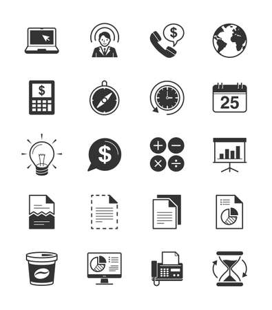 calandar: Business  Office 2 icon set 2 on White Background - Vector Illustration