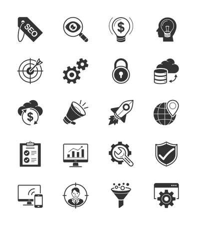keywords link: SEO  Internet icon set 1 on White Background - Vector Illustration Illustration