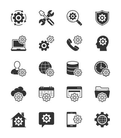 global settings: General Setting icon on White Background - Vector Illustration