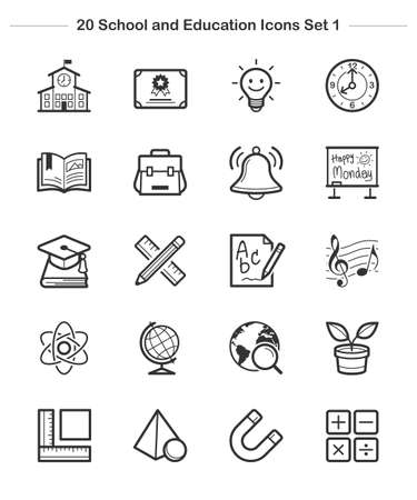 pen and paper: Line icon - School and Education icons set 1, thickness line Illustration