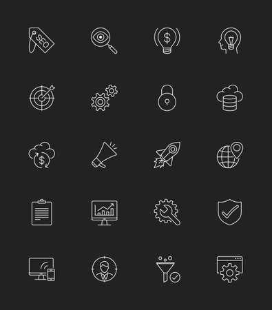 keywords link: SEO  Internet icons set, Thin line - Illustration Illustration