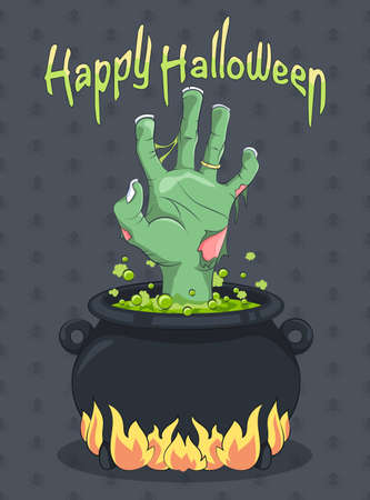 halloween background: Halloween and Zombie hand from the Witches Cauldron - Illustration