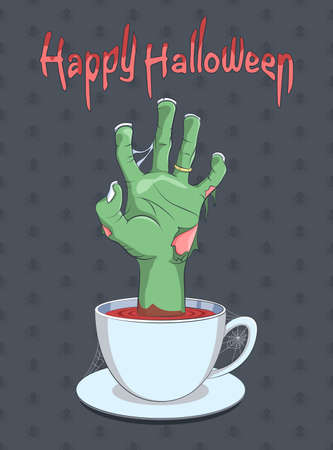 Halloween and Zombie hand from the cup of coffee  - Illustration Illustration
