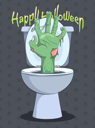 flush toilet: Halloween and Zombie hand from flush toilet - Illustration