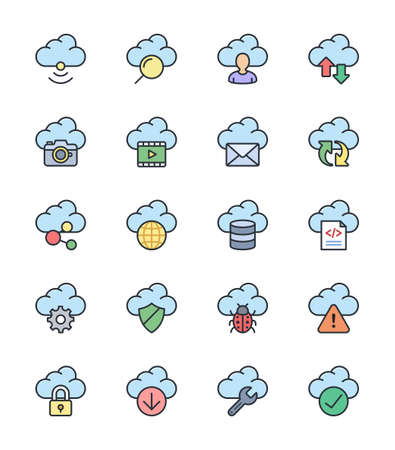 security check: Cloud Computing icons, color set - Vector Illustration Illustration
