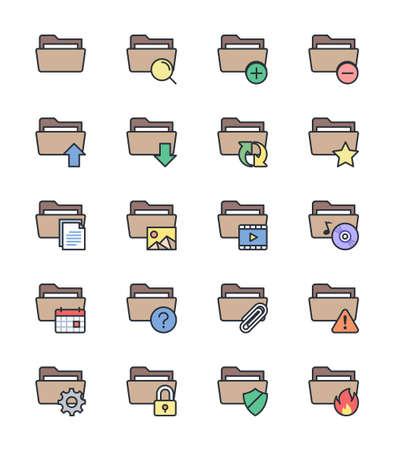 folder icons: Folder icons, color set - Vector Illustration