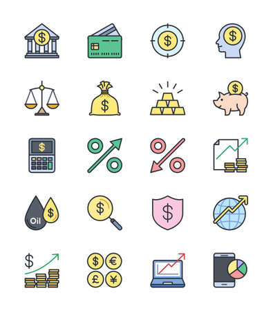 yen sign: Business Finance icons, Color set - Vector Illustration