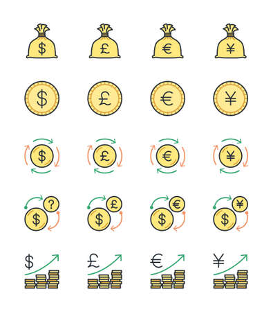 japanesse: Money  Currency icons, color set - Vector Illustration Illustration