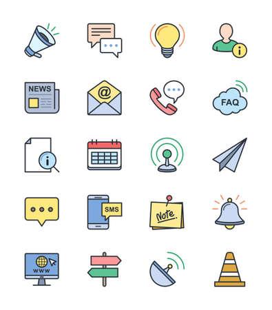 Informatie Website pictogrammen, kleur set - Vector Illustration
