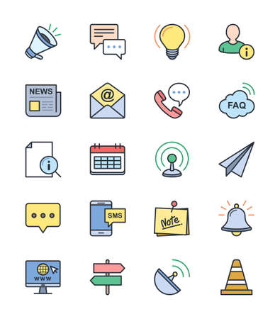 business media: Information  Website icons, color set - Vector Illustration