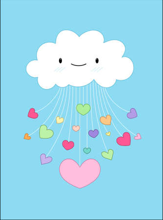 clouds cartoon: Cloud with love on valentines day - Vector Illustration Background