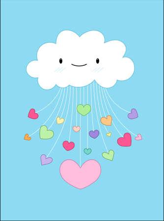 nubes caricatura: Nube de amor en San Valentín - Vector ilustración de fondo Vectores