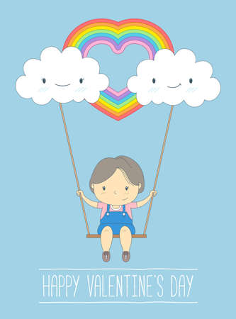 cute girl cartoon: Cute girl in love on a swing and rainbow cloud, Happy Valentines day - Vector Illustration