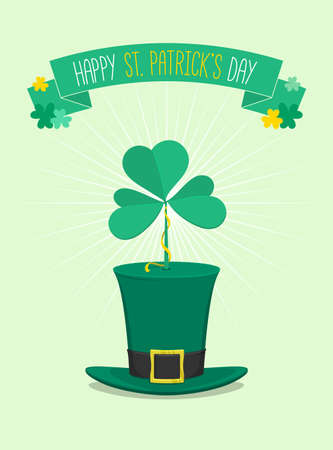 three leafed: Saint Patricks Day green hat with clover ontop - vector illustration