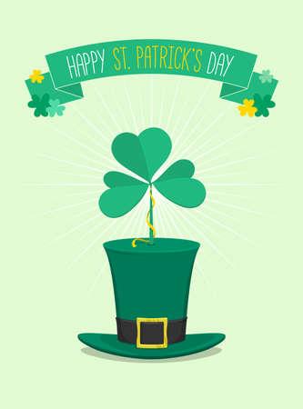 Saint Patricks Day green hat with clover ontop - vector illustration