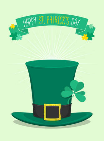 three leafed clover: Saint Patricks Day green hat with clover- vector illustration Illustration