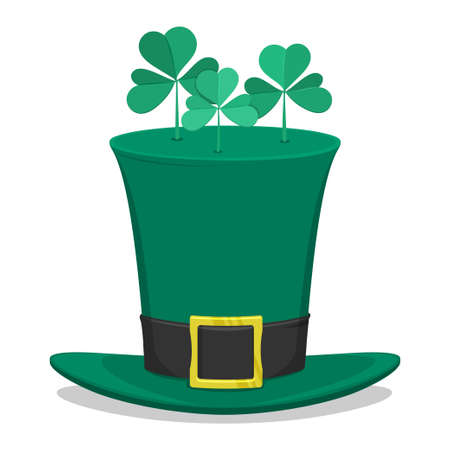 three leafed: Saint Patricks Day green hat with clovers on the top. Isolated white background