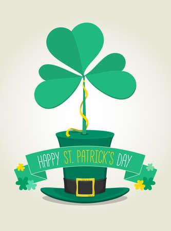 Big 3 leaf clover on the hat. Saint Patricks Day