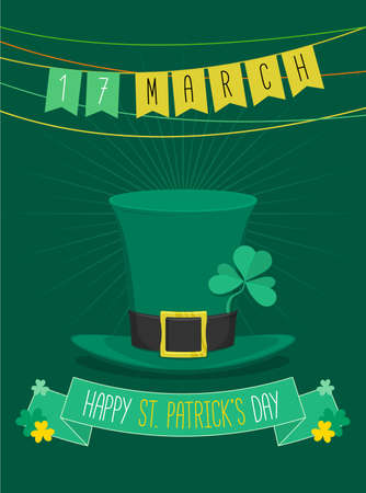 three leafed: Saint Patricks Day party with flag and green hat