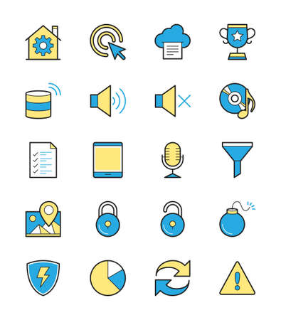 general warning: General icon, Monochrome color set 3 - Vector Illustration
