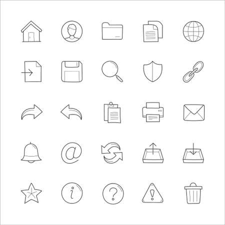 general: General website hand drawn doodle icons Illustration
