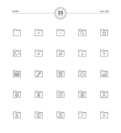 Folder icons set, Vector illustration Illustration