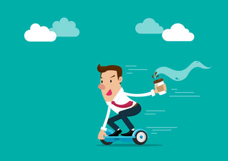 Businessman holding a cup of coffee going to work by hoverboard. Isolated vector illustration. Ilustração