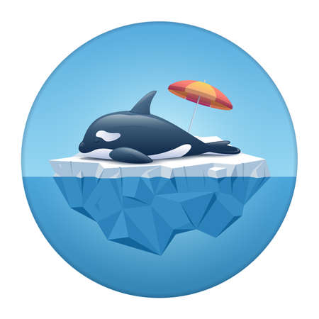 Cute Orca or the killer whale sleeping on the iceberg in the white circle frame. Iceberg with above and underwater view in the ocean. Summer background concept. Vector illustration