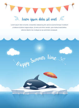 Cute Orca or the killer whale sleeping on the iceberg floating in a blue ocean with a text message and hanging ribbons on clouds on top. Summer background concept. Vector illustration.