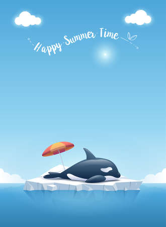 """Cute Orca or the killer whale sleeping on the iceberg floating in a blue ocean with a message """"Happy Summer Time"""". Summer background concept. Vector illustration. Ilustrace"""