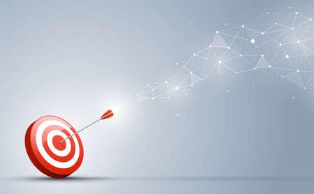 Objetivo que golpea en el centro por la flecha. Dirección de la meta y conexión en el concepto de negocio.